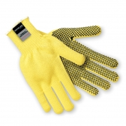 Memphis 9365 100% Kevlar Gloves - 7 Gauge - PVC Dots One Side - Cut Resistant - Yellow