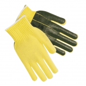 Memphis 9368 Kevlar Gloves - 7 Gauge - Black PVC Palm - Cut Resistant - Yellow