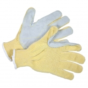 Memphis 9380 100% Kevlar Gloves - 7 Gauge - Leather Palm - Cut Resistant - Yellow
