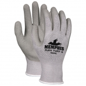 Memphis FlexTuff III Gloves - 10 Gauge - Gray Cotton/Poly Shell - Latex Dipped