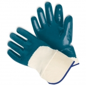 Memphis Predator Gloves - Blue Nitrile Palm Coated Jersey Lining - Safety Cuff - Blue-White