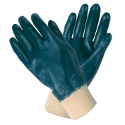 Memphis Predator Economy Gloves - Nitrile Fully Dipped Interlock Lining - Knit Wrist - Blue-White
