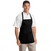 Port Authority A510 Medium Length Apron with Pouch Pockets - Black
