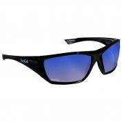 Bolle 40151 Hustler Safety Glasses - Black Temples - Blue Polarized Mirror Lens
