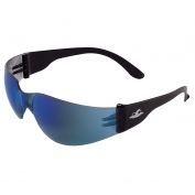 Bullhead BH149 Torrent Safety Glasses - Black Temples - Blue Mirror Lens