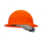 Fibre Metal E1RW Full Brim Hard Hat - Ratchet Suspension - Hi-Viz Orange