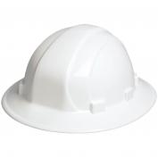 ERB 19911 Omega II Full Brim Hard Hat - 6-Point Ratchet Suspension - White