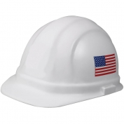 Omega II Cap Style with 6-Point Ratchet Suspension in White with Flag on Both Sides