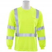 ERB 9802S Class 3 Long Sleeve Safety Shirt - Yellow/Lime