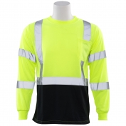 ERB 9804S Class 3 Black Bottom Moisture Wicking Safety Shirt - Yellow/Lime