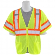 ERB S683P Class 3 Mesh Two-Tone Safety Vest with Zipper - Yellow/Lime