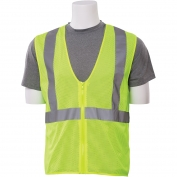 ERB S363 Class 2 Mesh Economy Safety Vest with Zipper - Yellow/Lime