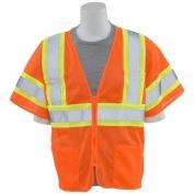 ERB S683P Class 3 Mesh Two-Tone Safety Vest with Zipper - Orange
