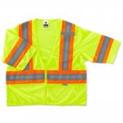 Ergodyne GloWear 8330Z Standard Two-Tone Vest - Zipper Closure - Yellow/Lime