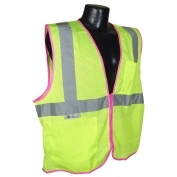 Full Source FS2ZPM Class 2 Mesh Safety Vest with Zipper - Yellow/Lime with Pink Piping