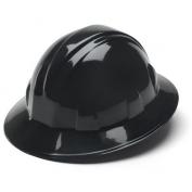 Pyramex HP24111 Full Brim Hard Hat - 4-Point Ratchet Suspension - Black