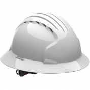 JSP Evolution 6161V Deluxe Full Brim Vented Hard Hat - Wheel Ratchet Suspension - White