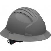 JSP Evolution 6161V Deluxe Full Brim Vented Hard Hat - Wheel Ratchet Suspension - Gray