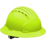 JSP Evolution 6161V Deluxe Full Brim Vented Hard Hat - Wheel Ratchet Suspension - Hi-Viz Lime