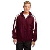 Sport-Tek JST81 Fleece-Lined Colorblock Jacket - Maroon/White