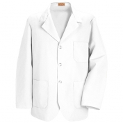 Red Kap Men\\\'s Lapel Counter Coat - White