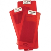 Mark II Red Extinguisher Cabinet Cover w/ Pull Here Label