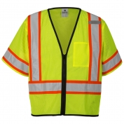 ML Kishigo 1565 Economy Class 3 Single Pocket Contrasting Mesh Safety Vest - Yellow/Lime