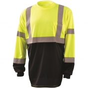 OccuNomix LUX-LSETPBK Class 3 Black Bottom Wicking Birdseye Mesh Safety T-Shirt - Yellow/Lime