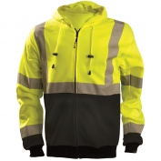 OccuNomix LUX-SWTHZBK Class 3 Black Bottom Safety Hoodie - Yellow/Lime