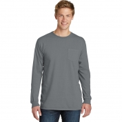 Port & Company PC099LSP Essential Pigment-Dyed Long Sleeve Pocket Tee - Pewter