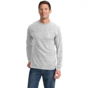 Port & Company PC61LSPT Tall Long Sleeve Essential T-Shirt with Pocket - Ash