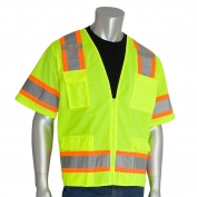 PIP 303-0500 Class 3 Two-Tone Surveyor Safety Vest with Six Pockets - Yellow/Lime