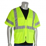 PIP 303-MVGZ4P Economy Class 3 Mesh Safety Vest with Four Pockets - Yellow/Lime