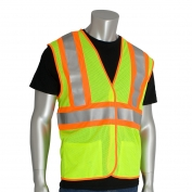 PIP 305-MVFR Class 2 FR Treated Two-Tone Mesh Safety Vest - Yellow/Lime