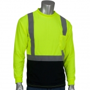 PIP 312-1350B Class 2 Black Bottom Wicking Birdseye Mesh Safety Shirt - Yellow/Lime