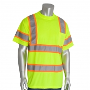 PIP 313-CNTSP Class 3 Two-Tone Short Sleeve Safety T-Shirt - Yellow/Lime