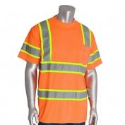 PIP 313-CNTSP Class 3 Two-Tone Short Sleeve Safety T-Shirt - Orange