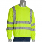 PIP 323-CNSSE Class 3 Crew Neck Safety Sweatshirt - Yellow/Lime