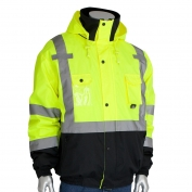 PIP 333-1770 Class 3 Rip Stop Premium Plus Black Bottom Bomber Jacket - Yellow/Lime