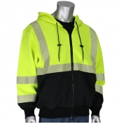 PIP 385-1370FR Class 3 AR/FR Full Zip Hooded Sweatshirt with Black Bottom - Yellow/Lime