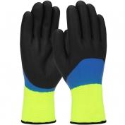 PIP 41-1415 Hi-Vis Seamless Knit Nylon Gloves - Double Dipped Nitrile Coated Foam Grip on Full Hand