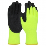PIP 41-1425 Hi-Vis Seamless Knit Brushed Acrylic Gloves - Latex Coated Crinkle Grip on Palm & Fingers