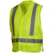 Pyramex RCA2510SE Class 2 Adjustable Breakaway X-Back Self Extinguishing Mesh Safety Vest - Yellow/Lime