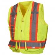 Pyramex RCMS2810SE Class 2 Heavy Duty Self Extinguishing Surveyor Safety Vest - Yellow/Lime