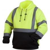 Pyramex RSSH3210 Class 3 Black Bottom Pullover Safety Sweatshirt - Yellow/Lime