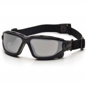 Pyramex I-Force Slim Safety Glasses/Goggles - Black Frame - Silver Mirror Anti-Fog Lens