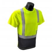 Radians ST11B Class 2 Black Bottom Wicking Birdseye Mesh Safety Shirt - Yellow/Lime