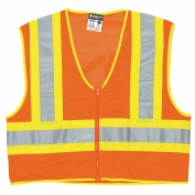 River City VWCCL2OFR Economy Class 2 Limited Flammability Two-Tone Safety Vest - Orange