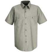 Red Kap Men\\\'s Wrinkle Resistant Cotton Work Shirt - Short Sleeve - Graphite Grey