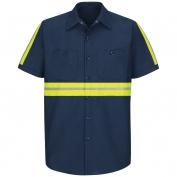 Red Kap Enhanced Visibility Industrial Work Shirt - Short Sleeve - Navy